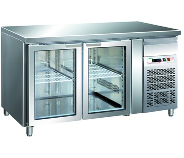 GN2100TNG Counter Chiller - 2 Glass Doors GN1/1 - Integral Condsenser
